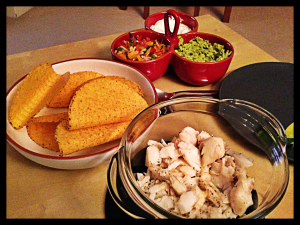 Fish Tacos with Pepper and Spring Onion Salsa and Homemade Guacamole, Rachel Allen