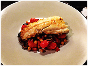 Pan Roasted Cod with Chickpeas, Piquillo and Chorizo