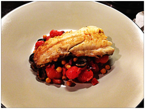 Pan Roasted Cod with Chickpeas, Piquillo and Chorizo, Olive Magazine, April 2013