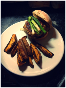 Teriyaki Turkey Burgers with Roasted Sweet Potato Wedges
