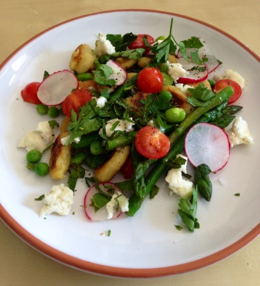 Pan-Fried Gnocchi with Peas, Broad Beans and Gorgonzola