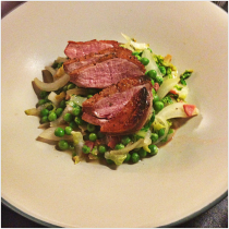Pan-Seared Duck Breast with Braised Peas