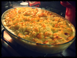 Fish Pie with Cheesy Mash Topping, Delicious Magazine November 2012