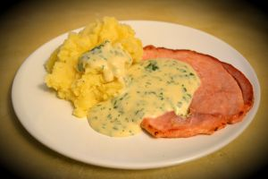 Gammon with Creamy Parsley Sauce and Root Veg Mash, Delicious Magazine February 2010