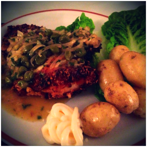 Lemon Buttermilk Chicken with a Piccata Sauce, Olive Magazine February 2014