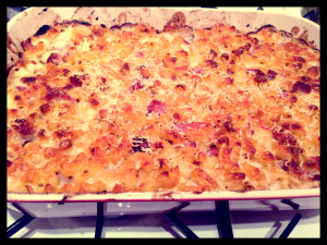 Creamy Macaroni Bake with Salami and Chilli, 'What Katie Ate'