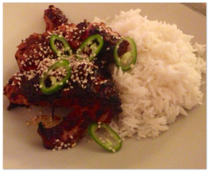 Sticky Chicken with Sesame and Chilli, Katie Quinn 'What Katie Ate'