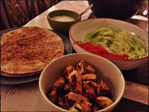 Greek Chicken Flatbreads with Tzatziki, Olive Magazine May 2014