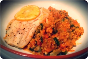 Spiced Bulghar Pilaf with Fish